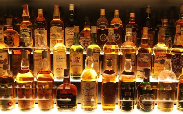 Whiskies on a shelf